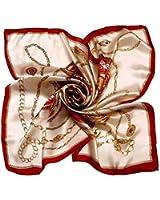 Kobwa(TM) Women Flower Mulberry Silk Square Scarves Bandana Scarf with Kobwa's Keyring