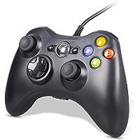 CHEREEKI Manette Xbox 360, Manette Filaire pour Xbox 360 avec Double Vibration, Manette de Jeu pour PC Windows 7/8/10