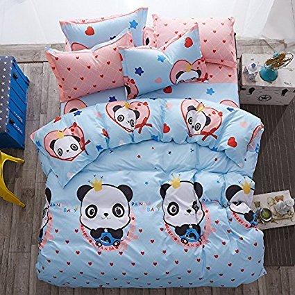Panda Design Kinder/Erwachsene Betten Sets 4/Set One Bettbezug ohne Tröster einem Bettlaken Zwei Kissen Twin Full Queen Size, baumwolle, Pandab, Blue, Twin(58