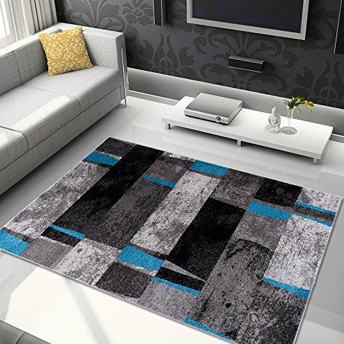 Kurzflor Meliert Teppiche Modern Grau Dunkelgrau Schwarz Blau Bunt Mehrfarbig mit Abstrakt Streifen Karo Viereck Muster Perfekt Wohnzimmer Gästezimmer ÖKOTEX 80 x 150 cm ()