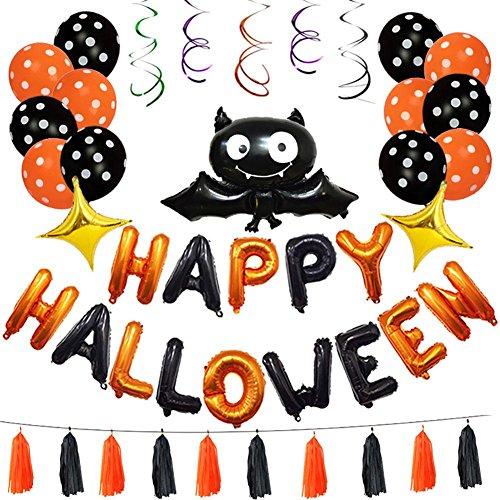 (Heilsa Halloween-Party-Set, Halloween-Banner, Luftballons, Dekoration für Leckereien, Grusel-Party, Spaß, 45 Stück)