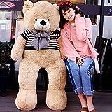 VERCART Jouet Enfant Ours en Peluche Geant Nounours en Pull Teddy Bear Cadeau d'anniversaire Brun Claire 160CM