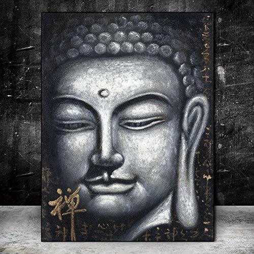 YuanMinglu Vintage Silber Buddha Ölgemälde Chinesischen Stil Druck Marihuana Kunstdrucke Buddhismus Leinwand Kunstdrucke Wandbilder Dekoration Rahmenlose Malerei 40x60 cm