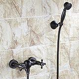 S.TWL.E Küche Küchenarmatur Waschtischarmatur Mischbatterie Spülbecken Armatur Armatur Wasserhahn Bad Black Shower Kit Wall Easy Rain Shower Bathroom Shower Kit Wall Mounted A