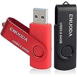2 Piezas 64GB USB 3.0 ENUODA Pendrive Pivote Memorias Giratoria Plegable Diseño de Cierre (Negro Rojo)