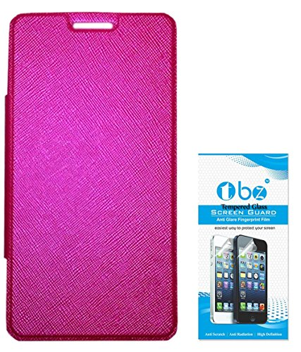 TBZ Flip Case for Micromax Canvas Mega Q417 with Tempered Screen Guard -Pink