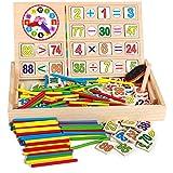 Gobus scatola multi-funzione in legno per la matematica e l'orologio Scatola da 1 a 100 numeri cognizione con lavagna, gessi, spazzolino per gesso, blocchi numerici in legno e bastoncini per contare (orologio a fungo)