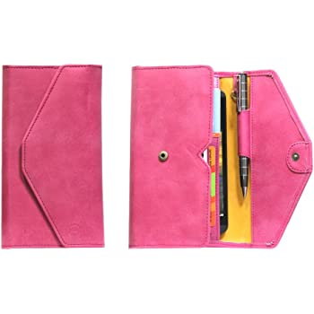 J Cover A12 Nillofer Leather Wallet Universal Phone Pouch Cover Case For SamsungGalaxy J7 Prime Pink