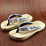 XIAMUO In stile giapponese zoccoli in legno maschio e femmina amanti pantofole in legno maschio slittamento estive scarpe di legno flip-flop, 24 cm 37-38 metri, blu e bianco dei fiori