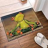 CDHBH antideslizante para decoración rana con diseño rana sentada alfombras baño meditación...