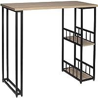 WOLTU BT25hei Table de Bar Table de Bistrot Table de comptoir avec 2 tablettes, Structure en métal Plateau en MDF…
