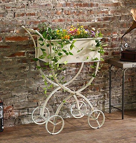 ZENGAI Placez Les Articles étagère pour Fleurs Art de Fer Chariot Boutique Vitrine Rétro Blanc Présentoir, 60 * 32 * 80cm