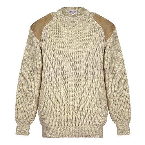 EIN Herrenjagdpullover, 100% Wolle, Large Knit, Beige M -