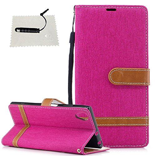 TOCASO LederHülle Denim Sony Xperia XA1 Plus Hülle Schwarz Wallet Flip Case Etui Klapphülle Karten Slot Handschlaufe Neu Ständer und Magnet Handyhülle -Rotes Stück