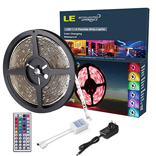 LE 12V DC Waterproof RGB LED Strip Lights Kit,150 Units SMD 5050 LEDs, 5m LED ribbon,44 Key IR Remote Controller and Power Adaptor Included, Multi-coloured LED Tape, Christmas Decoration Lighting