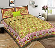Harsh Textiles Handblock Printed 120 TC Cotton Queen Size Bedsheet with 2 Pillow Cover (Queen Size, Sanganeri