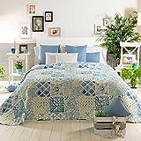 Sancarlos Colcha Bouti BIESCI, Diseño de patchwork, 100% Poliéster, Cama de 150 cm