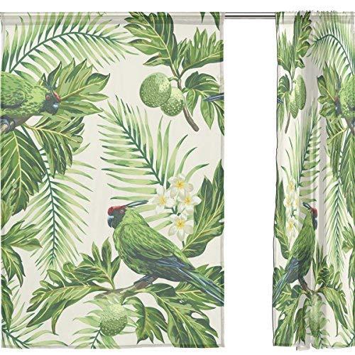 Sheer voile finestra tenda tropicale foglia uccello lascia modello stampato in poliestere tessuto per camera da letto decor home decorazione porta cucina soggiorno 2pannelli 198,1x 139,7cm