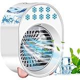 Eamplest Mini Raffreddatore d'Aria, Condizionatore D'aria Portatile con 3 Velocità del Vento Regolabili,7 colori luce d'atmos
