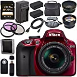 Nikon D3400 DSLR Camera With AF-P 18-55mm VR Lens (Red) + EN-EL14 Replacement Lithium Ion Battery + External Rapid Charger + Sony 64GB SDXC Card + Carrying Case Bundle
