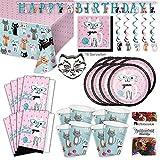 Katzen Cat Kätzchen Party Set XL 57-teilig 8 Gäste Katzenparty Kindergeburtstag Partypaket