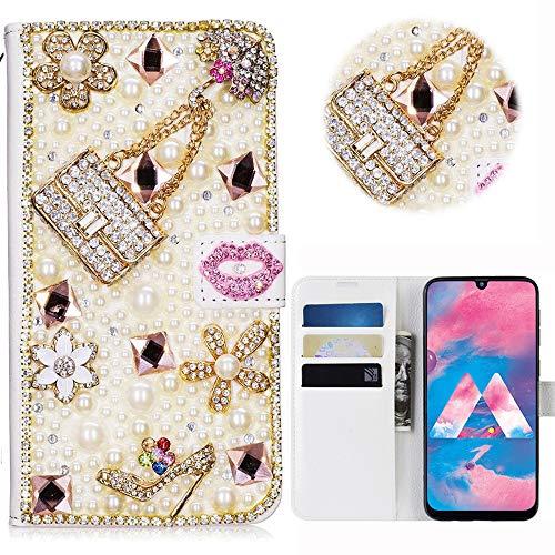 Print Strass-handtasche Geldbeutel (Samsung Galaxy M30 Glitter Hülle Case,3D Handtasche Absatz Lippe Strass Diamant Weiße Ledertasche PU Lederhülle Flip Hülle Ständer Wallet Tasche Schutzhülle Glitzer Handy Case für Galaxy M30)