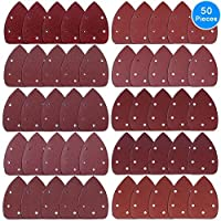 AUSTOR 50 Pieces Mouse Detail Sander Sandpaper Sanding Paper Hook and Loop Assorted 40/ 60/ 80/ 100/ 120/ 180/ 240/ 320/ 400/ 800 Grits