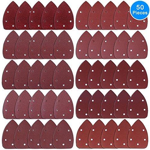 AUSTOR 50 stücke Klett-Schleifdreiecke Maus Detail Schleifpapier 5 Loch je 5 x 40 / 60 / 80 / 100 / 120 / 180 / 240 / 320 / 400 / 800 Körnung Für Dreieckschleifer
