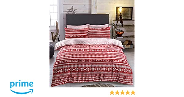 Fairisle Red Reversible Quilt Duvet Cover Set + PillowCases By ...