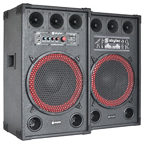 "skytec SPB-12 PA Lautsprecher Aktivboxen Set (800 Watt max., 30 cm (12"")-Subwoofer, USB-Port, SD-Slot, 2 x 6,3 mm-Klinke-Mic-In, Cinch-Line-In) schwarz"
