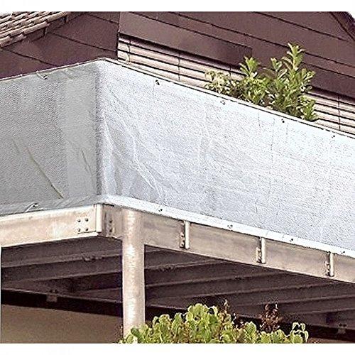 Brise-vue blanc / protection pour balcon avec œillets métalliques, 500 x 90 cm, plastique, œillets en aluminium