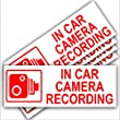 5 x Small In Car Camera Recording-Red on White-Security Stickers-87mm x 30mm-Dashboard CCTV Sign-Van,Lorry,Truck,Taxi,Bus,Mini Cab,Minicab-Go Pro,Dashcam