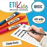 ETIKids 40 Étiquettes adhésives laminées personnalisables polyvalentes (basic) pour la garderie et l'école....