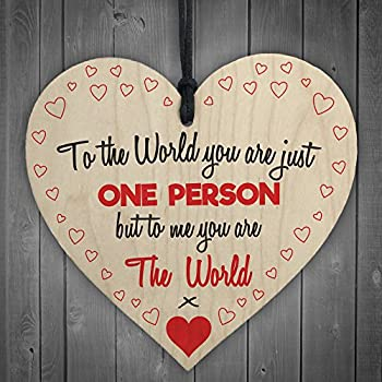 Love you gift wooden keepsake plaque amazon kitchen home red ocean to me you are the world wooden hanging heart cute love gift plaque friends sign negle Choice Image