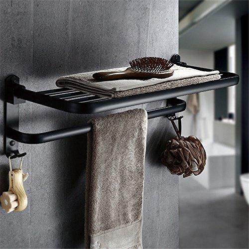 LHbox Tap Von Punch Schwarz Handtuch Platz im Rack Aluminium Regale Handtuchhalter Shop Badezimmer Wand Los, 599 cm klappbare Haken