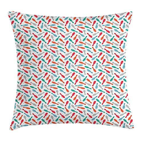 Cushion Cover, Colorful Pins Bowling Club Sports Equipment Leisure Time Watercolor Style Print, Decorative Square Accent Pillow Case, 18 X 18 inches, Multicolor ()