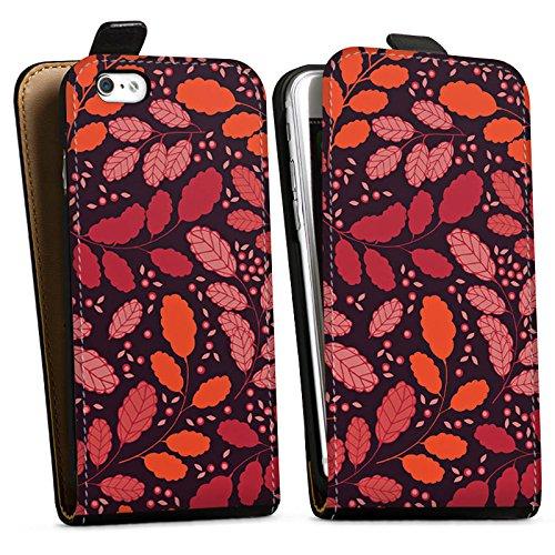 Apple iPhone X Silikon Hülle Case Schutzhülle Blätter Herbst Ranken Downflip Tasche schwarz