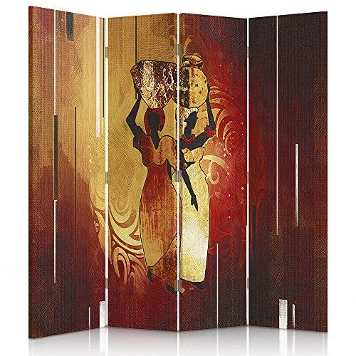 Feeby Frames. Raumteiler, Gedruckten aufCanvas, Leinwand Wandschirme, dekorative Trennwand, Paravent beidseitig, 4 teilig, 360° (145x150 cm), AFRIKA, FRAUEN, KANNEN, BRAUN, ORANGE