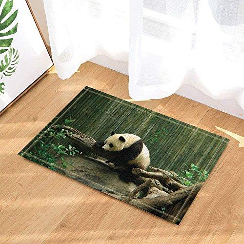 (fdswdfg221 Wilder Tier-Dekor, Safari-Panda, der auf dem Stamm gegen Bambusbad-Wolldecken-Rutschfeste Fußmatte-Boden-Eingangs-InnenHaustür-Matten-Kinderbadematte 60X40CM Badezimmer-Zusätze spielt)