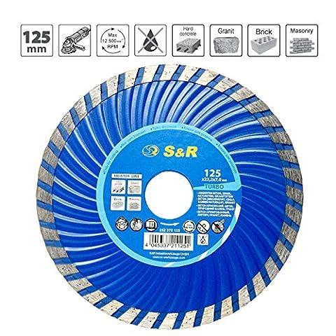 S&R Disque à tronçonner Turbo lame diamant 125 x 2,2(7,0)x22,2mm pour découper béton, granit,pierre naturelle,brique, coupes à