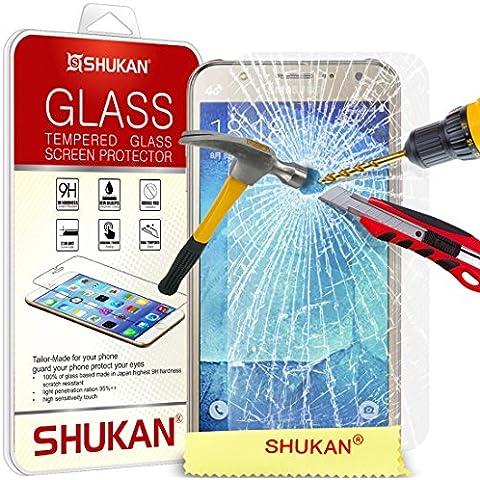 Per Samsung Galaxy J7 - proteggi SHUKAN® premio temperato vetro dello schermo ultra sottile leggero arrotondato bordo 9H durezza con panno di pulizia [TG906 - NDL 6]