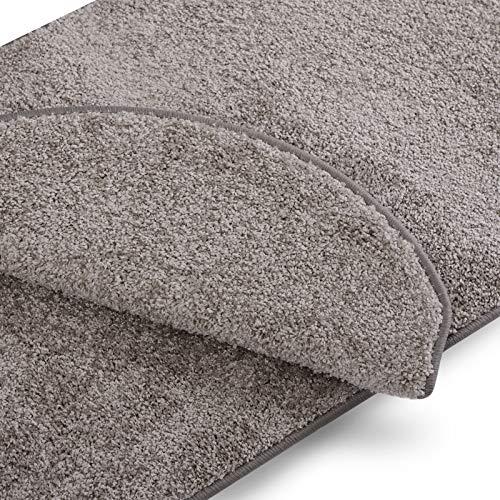 Stufenmatten uni silbergrau | Qualitätsprodukt aus Deutschland | GUT Siegel | kombinierbar mit Läufer | 65x23,5 cm | halbrund | 15er Set
