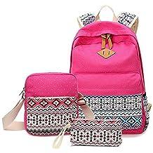 Mode 3pcs décontracté Femme Sac à dos vintage en toile School Book Bag Sac à bandoulière Portefeuille pour fille Teen Approx. 20 to 35 liters rose rouge