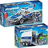 PLAYMOBIL® City Action playset 6873 6875 Police Car + Mounted Police with Horse Box Trailer