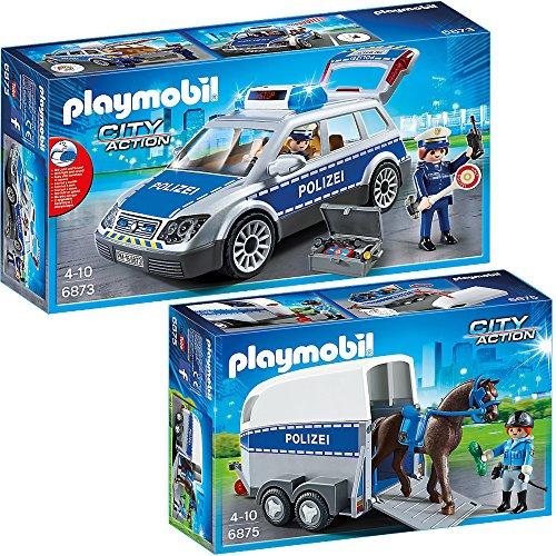 PLAYMOBIL® City Action 2er Set 6873 6875 Polizei-Einsatzwagen + Berittene Polizei mit Anhänger