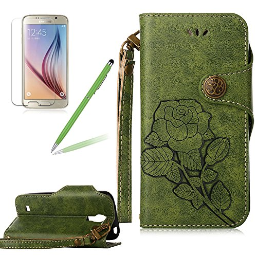 Girlyard Lederhülle für Samsung Galaxy S4 Mini i9190 Wallet Flip Case, Elegant Blumen Retro Floral Muster Design Schutzhülle mit Lanyard Strap Handyhülle Standfunktion Karteneinschub und Magnetverschluß Etui -- Grün