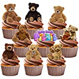 Teddy Bears Picnic Cake Decorations Party Pack - Edible Stand-up Cup Cake Toppers (Pack of 36)