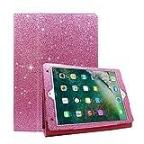 FAN SONG iPad 2018 2017 9,7 Hülle Glitzer Bifold Funkeln Leder Weich Glossy Stoßfest mit Ständer Auto EIN/aus Funktion Smart Cover Schutzhülle für Apple iPad Air 1 2 / Pro 9,7