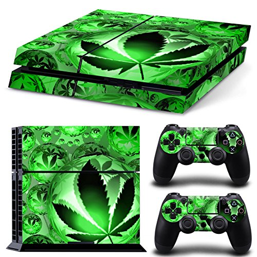 Morbuy Ps4 Skin Consola Design Foils Vinyl Pegatina Sticker And 2 Playstation 4 Dualshock Controlador Skins Set (Verde Marihuana)