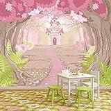 Pink Princess Castle Papier peint Conte de fée Papier peint photo Chambre des filles Décor Disponible en 8 tailles XXX-Grand Numérique